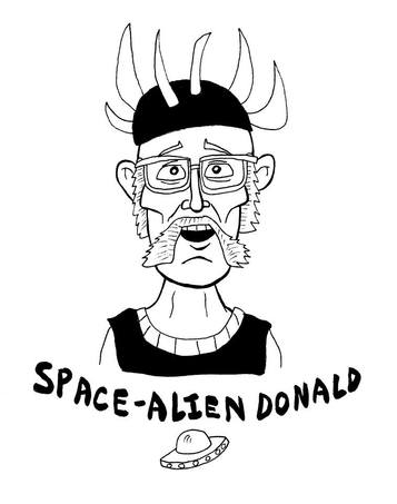 Space Alien Donald Illustration by Tommy Cannon
